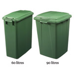 Two sizes of colour coded bins available