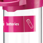 Custom labelling on the front of a battery tube
