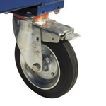 The castors on the base of the four wheeled bin