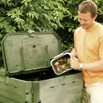 Food waste being added to a Thermoking composter