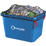 A black net covering the top of a blur kerbside box thats full of plastic to be recycled