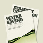 An image of two water saving packs produced by our in-house marketing team