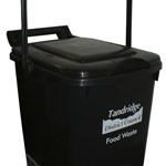A black kerbside caddy with a customised image on the front