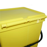 A yellow EcoCaddy With a Hinged lid