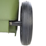 A picture of a wheel attached to a green wheelie bin