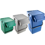 Three different EcoCaddy Plus sizes available, shown in grey blue and yellow